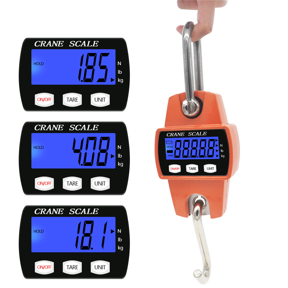 Crane Scale Weight 300kg 150kg/50g 200kg/100g 500kg/100g Heavy Duty Hanging Hook Scales Portable Digital Stainless Steel