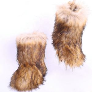 Women's Winter Warm faux fox 모피 털 실내화 숙 녀 boots faux Fox Hair Sandal Shoes