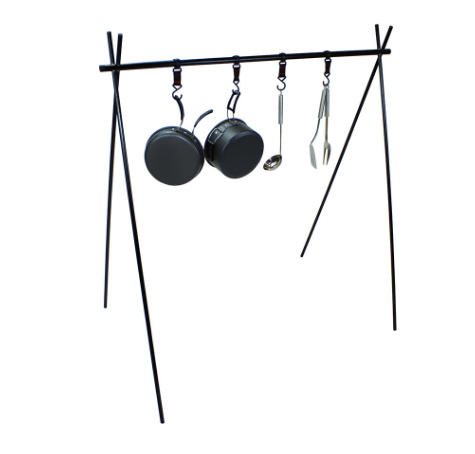 Small size outdoor aluminum alloy hanging rack camping portable folding hanger picnic storage tripod with hook