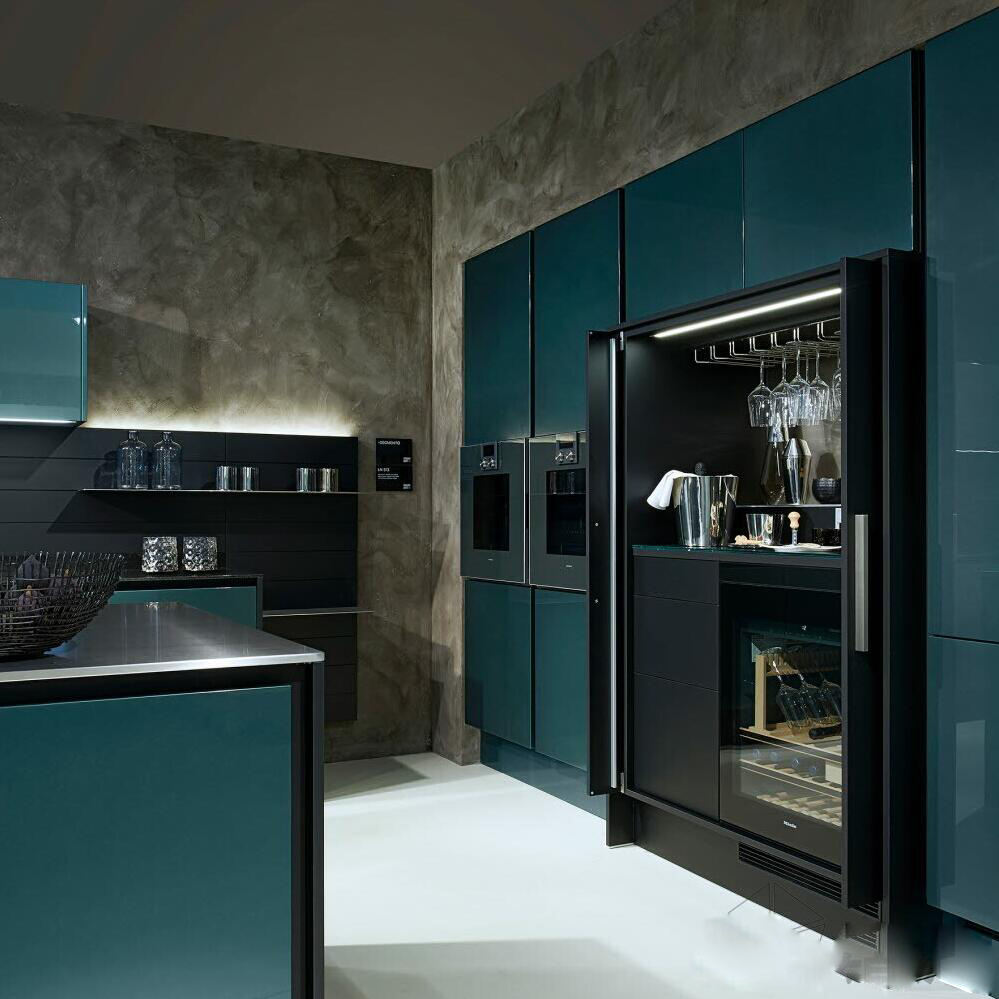 High End Customized glass full high Free Design Kitchen Cabinet