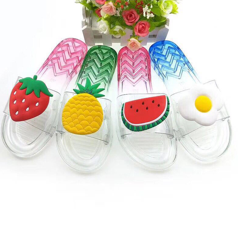 Cartoon Fruit Jelly Women's Summer Beach Slippers Customized Transparent PVC Plastic Slide Slippers and Sandal for Ladies Female