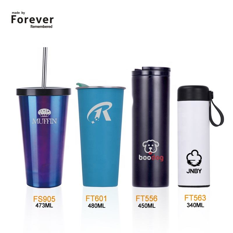 Promotional double wall stainless steel tumbler cups with lid and straw custom logo stainless steel coffee mug