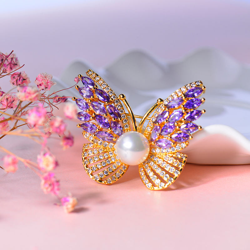 China wholesale brooch rhinestone diamond brooch pin butterfly brooch jewelry