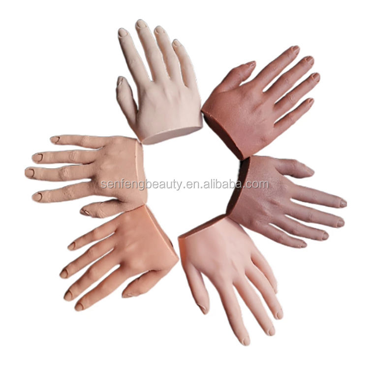 Nail art silicone practice fake hand flexi finger produce nail mannequin trainer silicone training nail hand