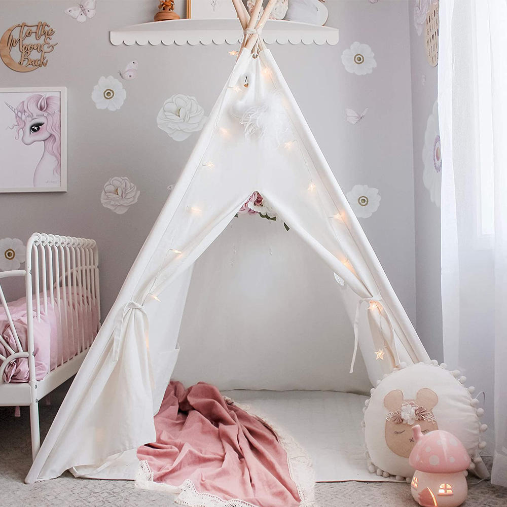 Foldable Indoor White Canvas Children Play Teepee Toy Tent Kids, Custom Indian Tent Outdoor Kids Tipi Tents House For Sale