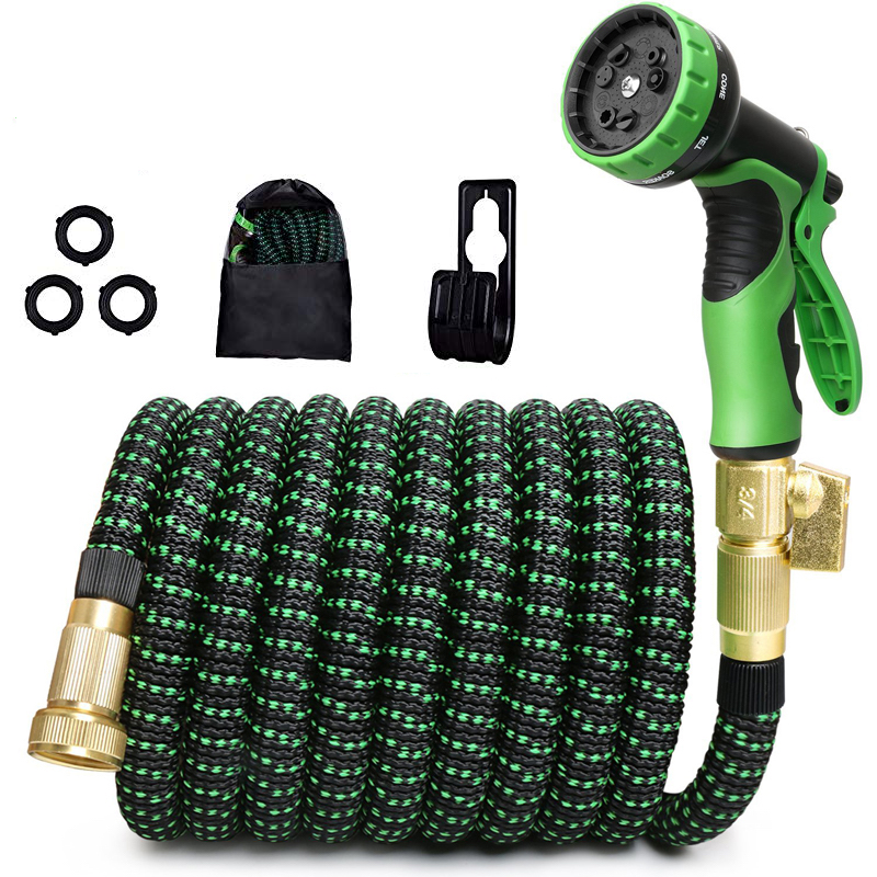 Home and garden expanding 50ft stronger double latex flexible fabric expandable garden hose 75ft