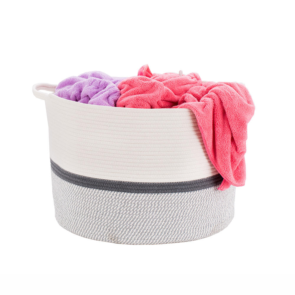 Amazon hot sale foldable cotton rope large size laundry basket with handles