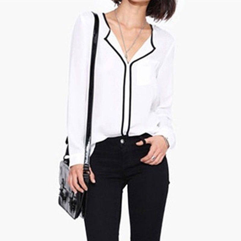 New Fashion Women Girls Long Sleeve V-neck Chiffon Business Temperament Simple Loose Shirt Tops