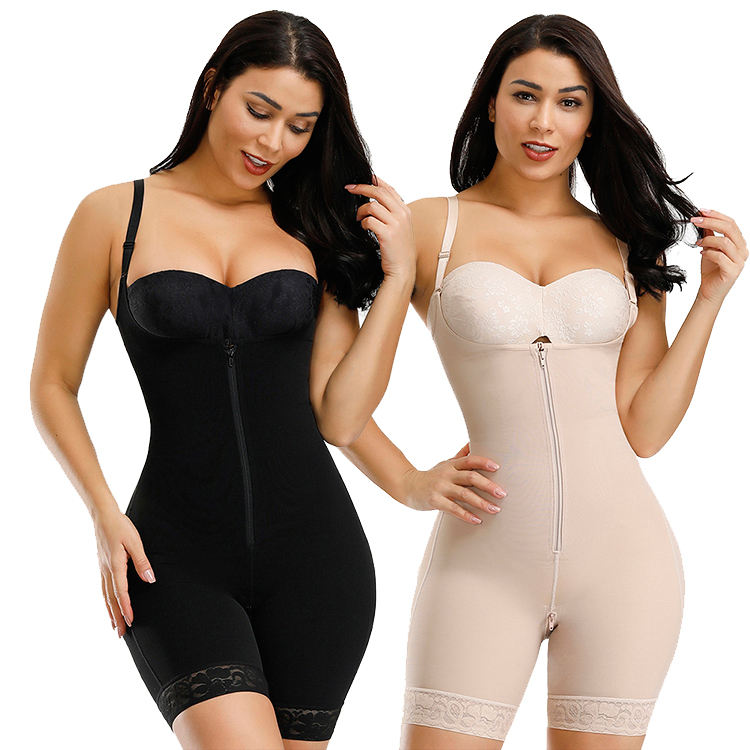 Dropshipping Adjustable Hooks And Zipper Full Slimming Tummy Control High Waist Girdle Spandex Shapewear