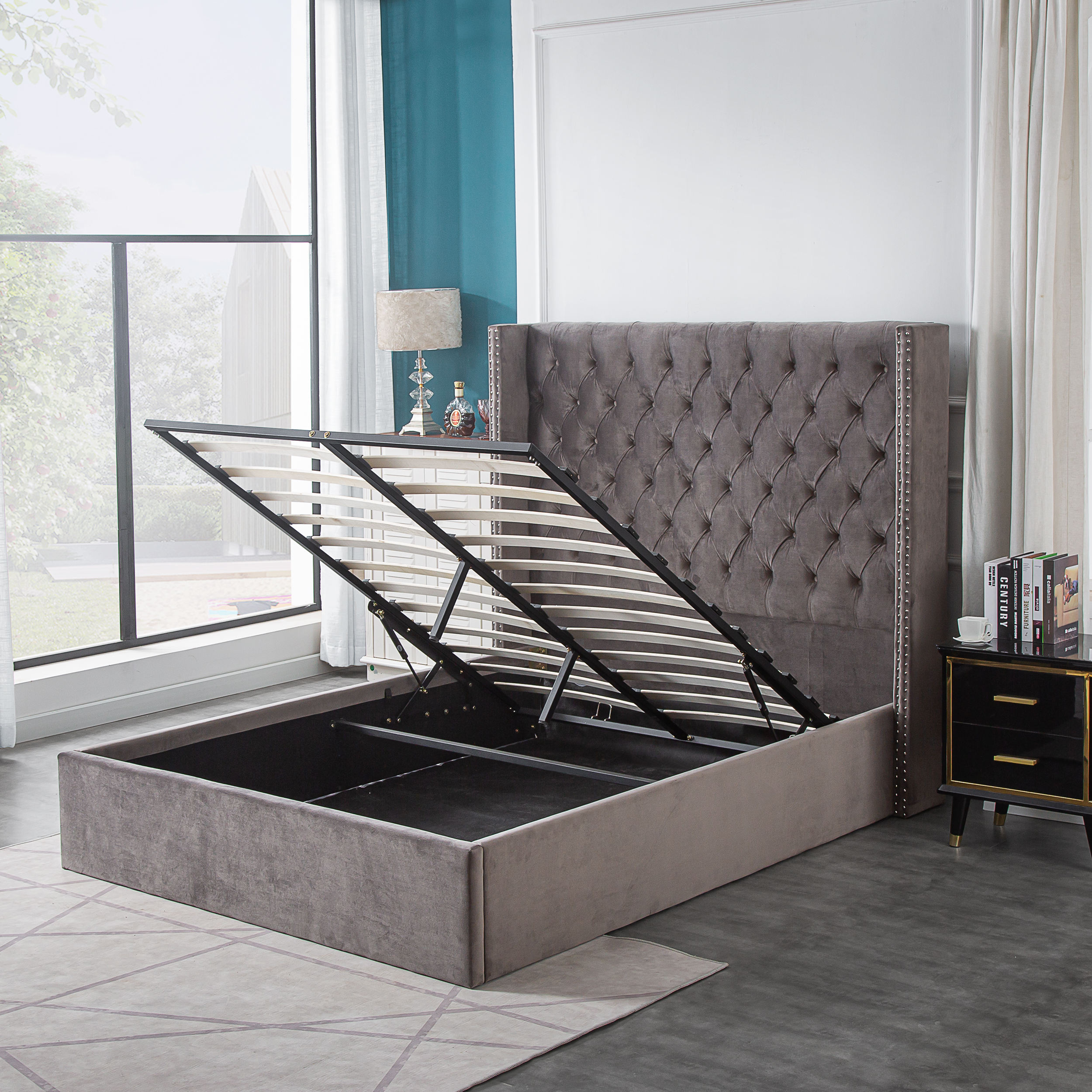 Bestseller Modern Design Dubbele Queen King Size Lift Up Fluwelen Stof Opslag Bed