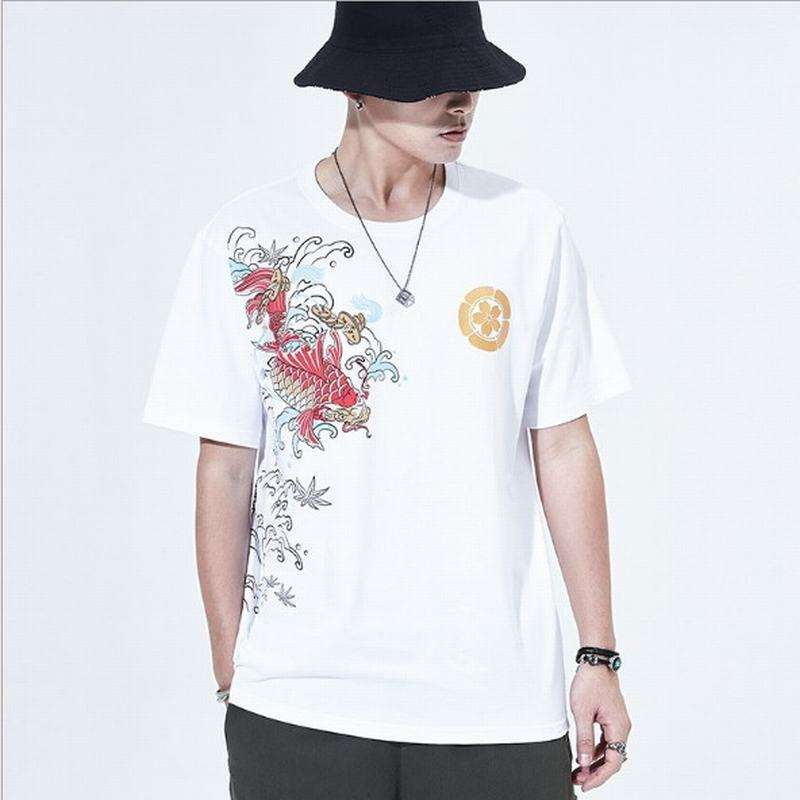 Granny Chic Oversized Mens Tops BSCI Man Casual Brocade Carp Embroidery Printing t shirts For Man