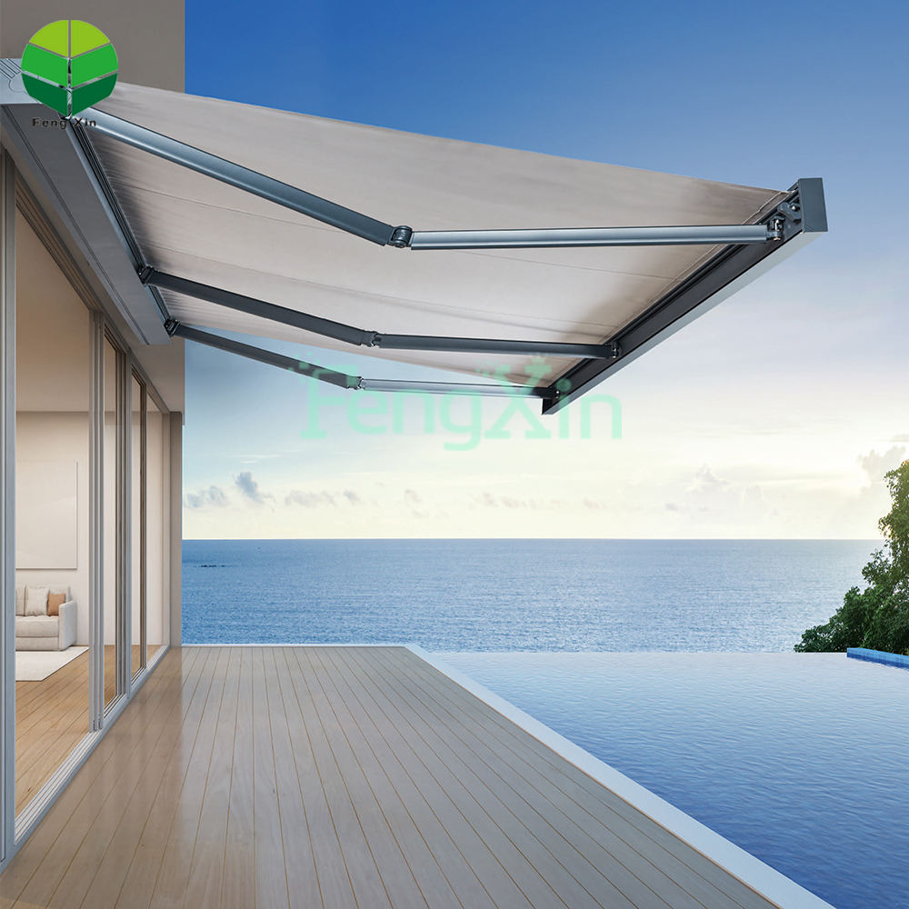 Fengxin Outdoor full cassette portable motorized aluminium waterproof retractable awnings for balcony