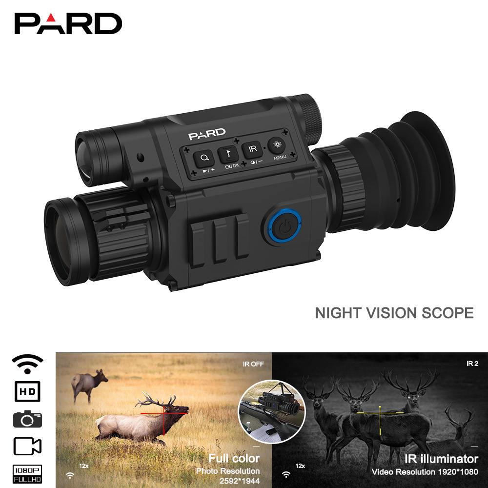Night vision scope PARD NV008 plus 1080P riflescope for hunting 6.5x-12x with 200m range WIFI supported