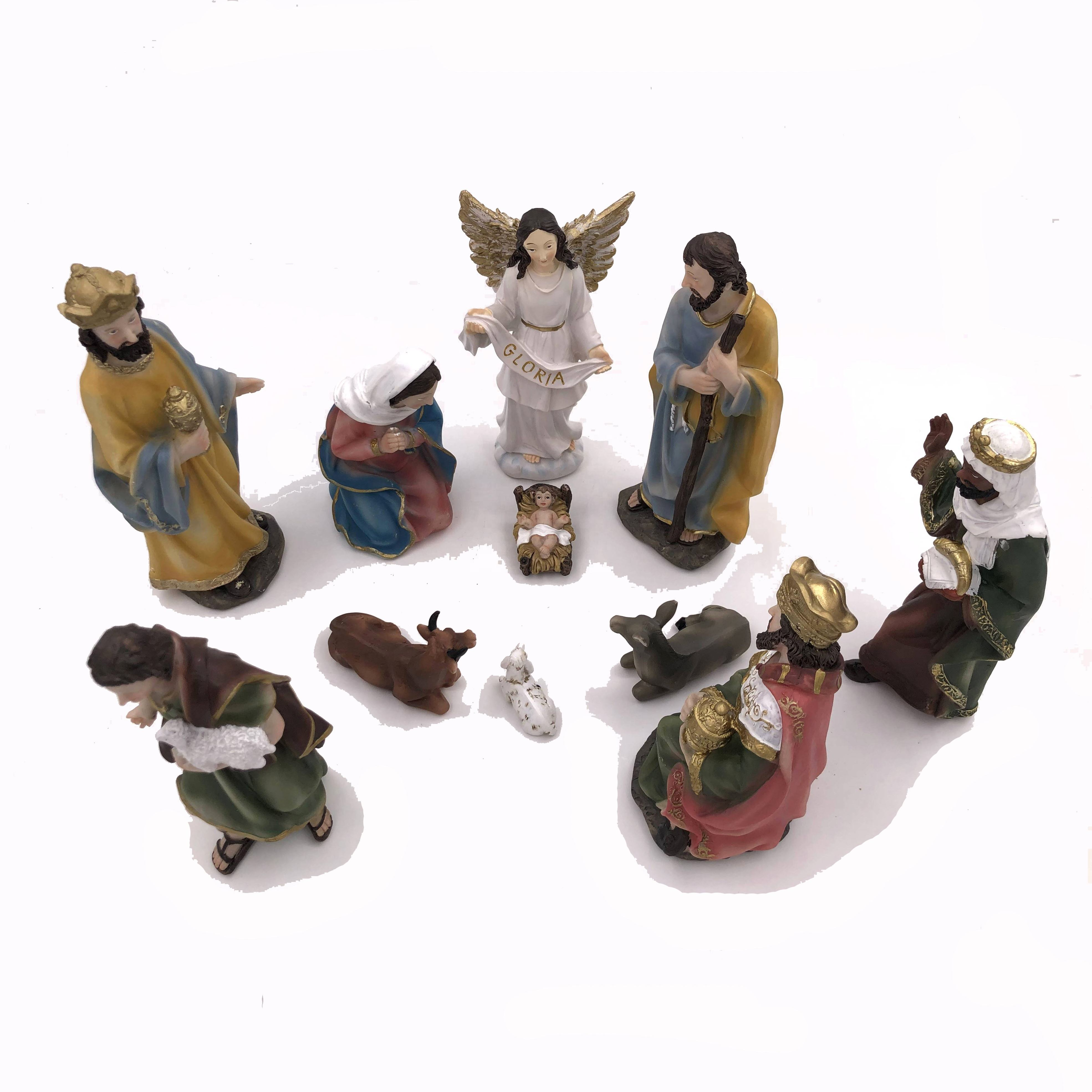 11-Piece 20cm Holy Family and Three Kings Inspirational Religious Catholic Christmas Nativity Scene Set Statues
