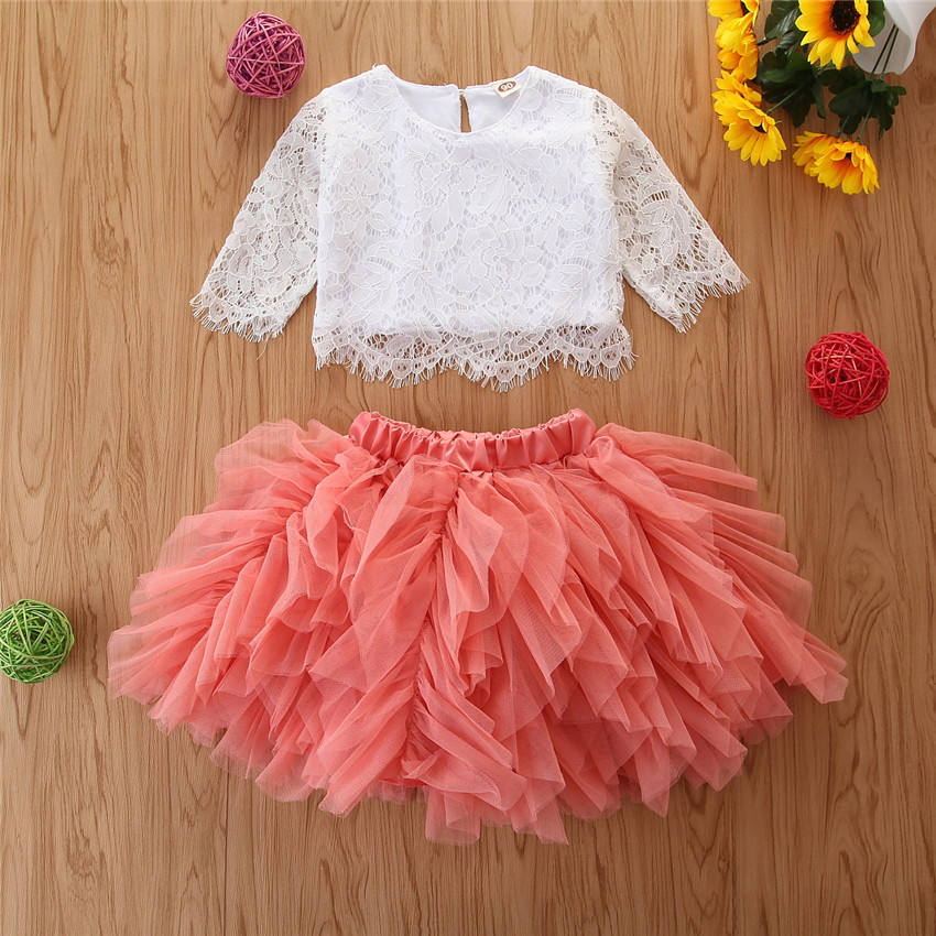Spring Autumn Kid Girl Outfit Long Sleeve Children Girl White Lace Top + Pink Tulle Skirt 2個Children Girl Clothing Set