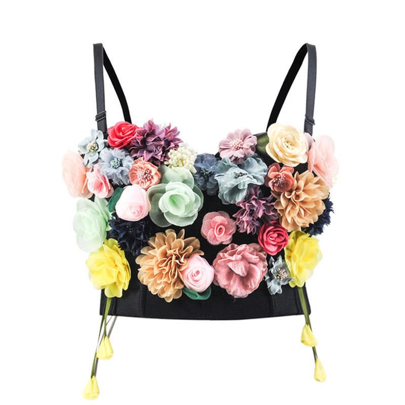 Floral Corset Appliques Tops for Women Fashion Sexy Gothic Style Waist Slimming Bustier Summer Clothing for Daily Party