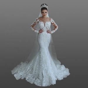 2018 Modest Saudi Arabic Lace Wedding Dress Illusion Long Sleeve Beads Luxury Mermaid Moroccan Bridal Gown