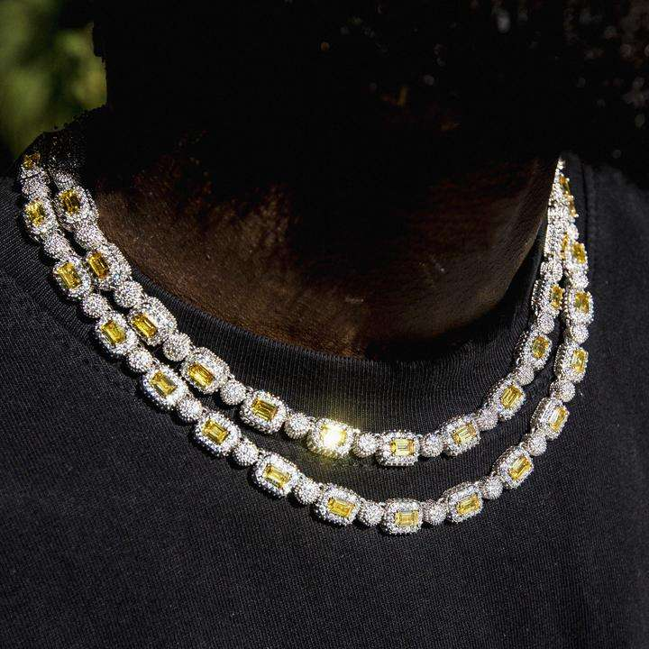 geometric round square cz cluster bead link chain full iced out bling white yellow diamond tennis men necklace