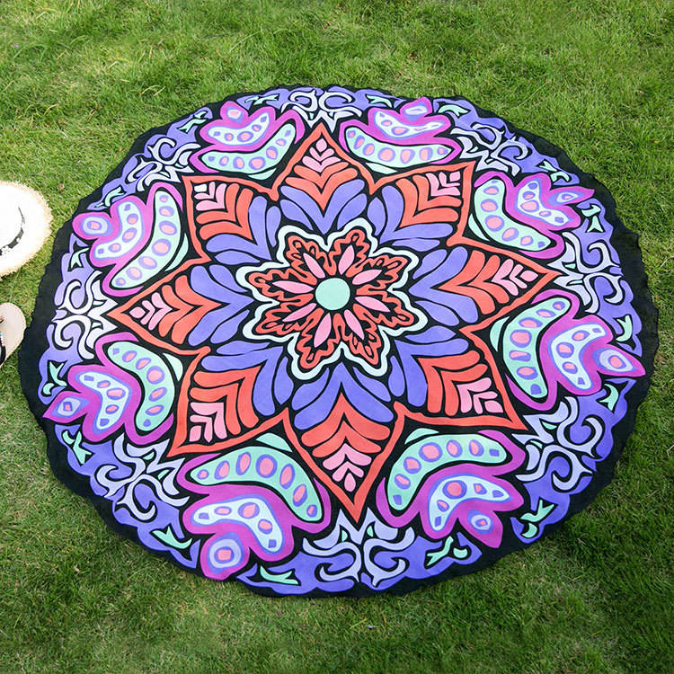 Mandala Tapestry Indian Blanket Cotton Meditation Mat Round Beach Towel Boho