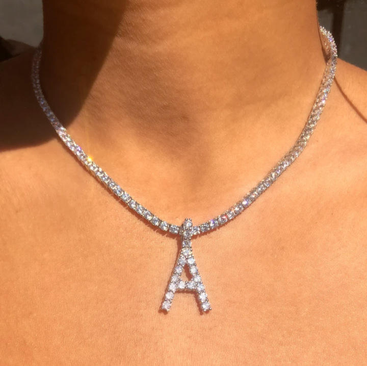 Custom Silver Cubic Zirconia Iced Out Tennis Chain rhinestone 26 letter Necklace