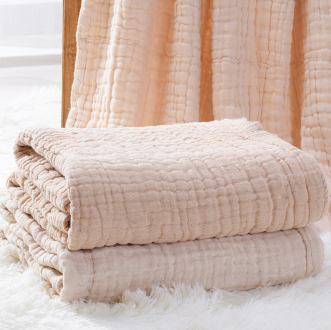 Natural Color Original Yarn 6-Layer 100% Organic Pure Cotton Towel Sheet Thin Quilt Blanket for Baby