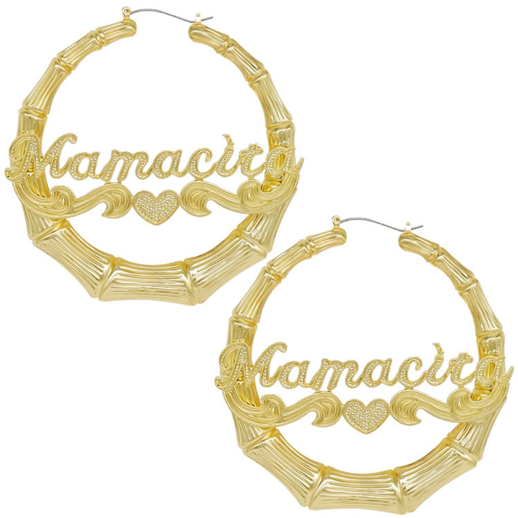 Big gold plated bamboo name custom earrings with logo