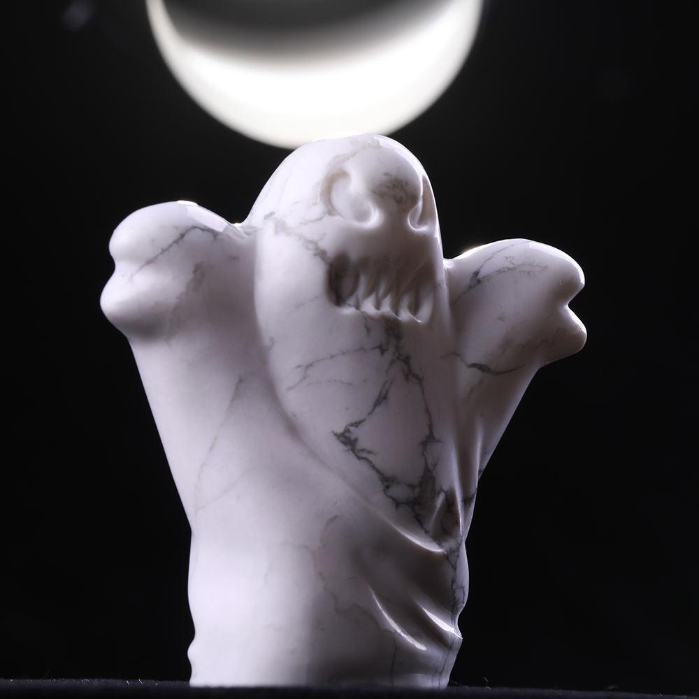 mayor de piedra de cristal curativo artesanía de perlas de cristal fantasma natural tallado para decoración de Halloween