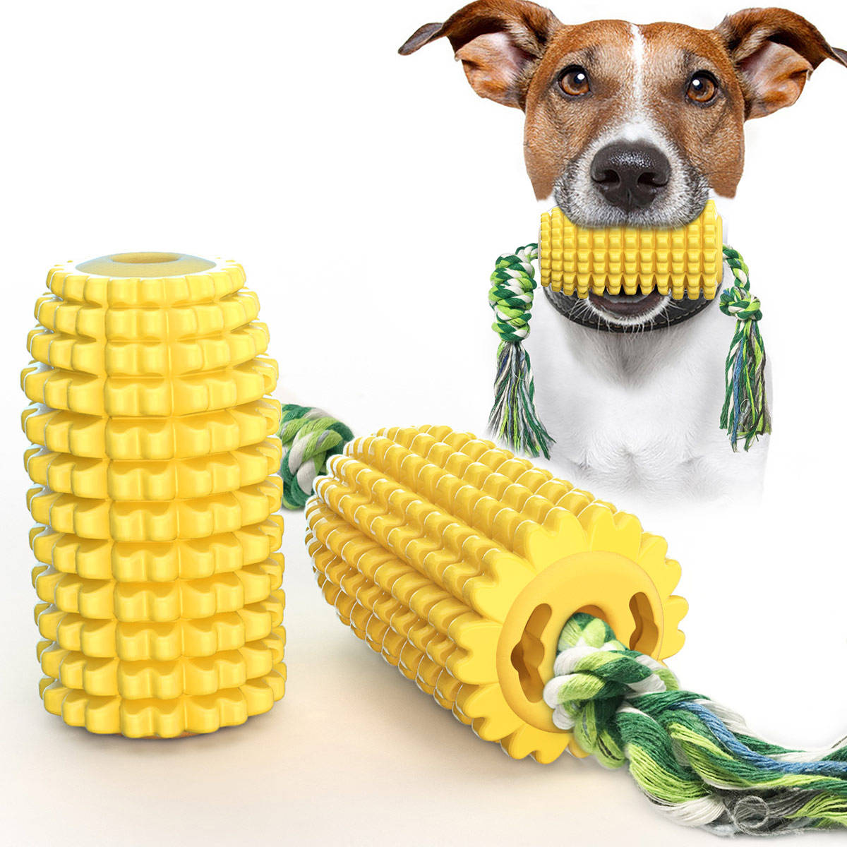 Amazon hot sale dog toy corn molar/grinding stick bite-resistant toothbrush dog chew toy with rope pet toy dog