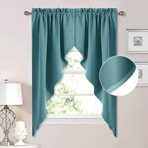Room Darkening Pole Pocket Tailored Scalloped Valance Kitchen Curtain, Swags for Nursery for Basement Kitchen Window Curtain/