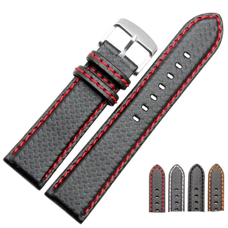 Waterproof carbon fiber watch band 18-24mm leather watch strap