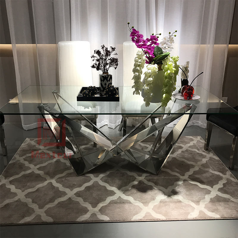 Italy style modern design stainless steel glass dining table