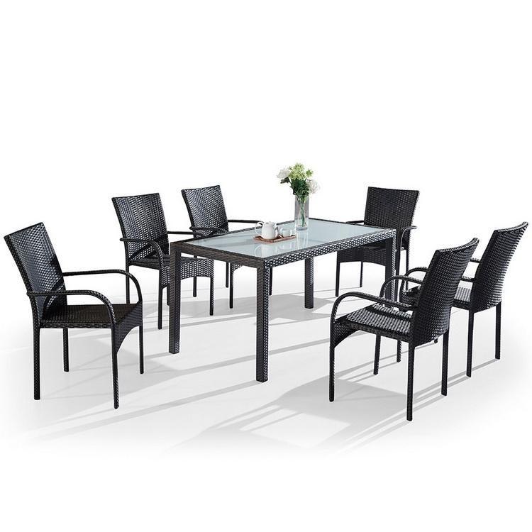 Patio Rattan Dining Table Chair Outdoor Furniture Garden Set
