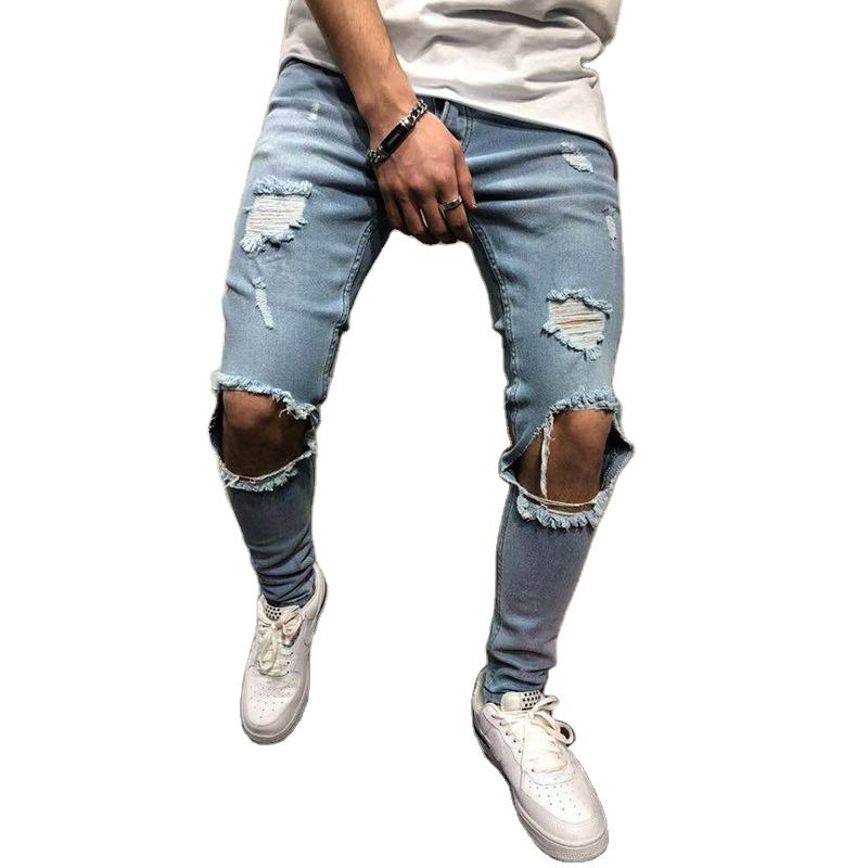 Mens Jeans Pants Destroyed Ripped Design Fashion Ankle Zipper Skinny Jeans For Men Y10749