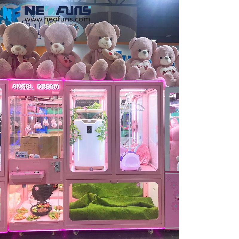 Neofuns Yeni Varış Melek Rüya Makas Makinesi 4 Vitrinler Itme oyuncak otomatı Ödül Kesme Oyunu Alışveriş Merkezi için
