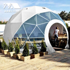 Commercial 3m 4m Round Door Steel Frame Geodesic Dome Tent with zipper