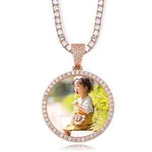 NEW Custom Ice out Large size 62mm Image Picture Photo Round Pendant Necklaces With Tennis Chain Cubic Zirconia Hip hop Jewelry