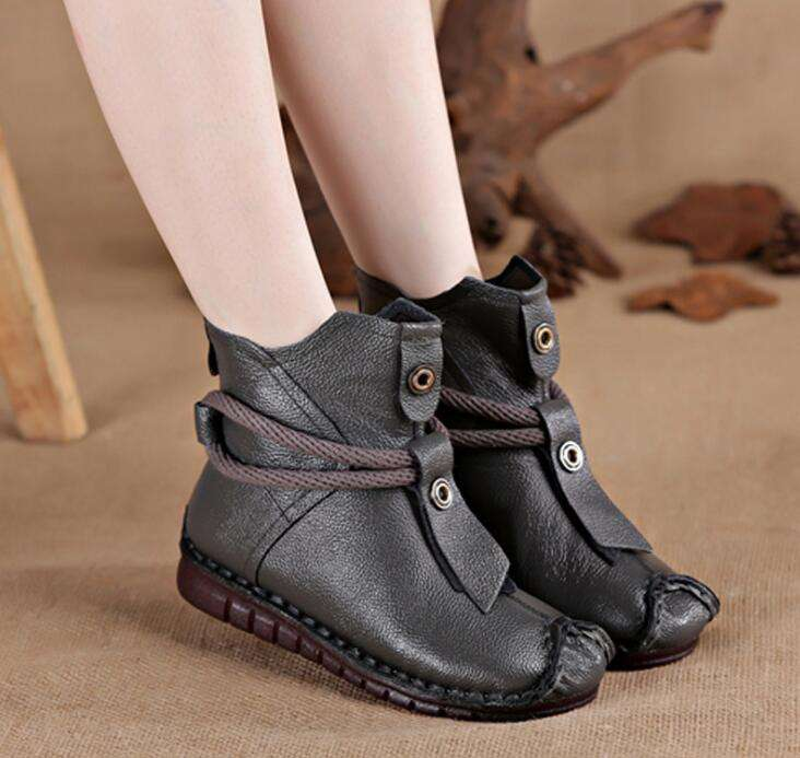 Women Genuine Leather Casual Soft Flat Boots