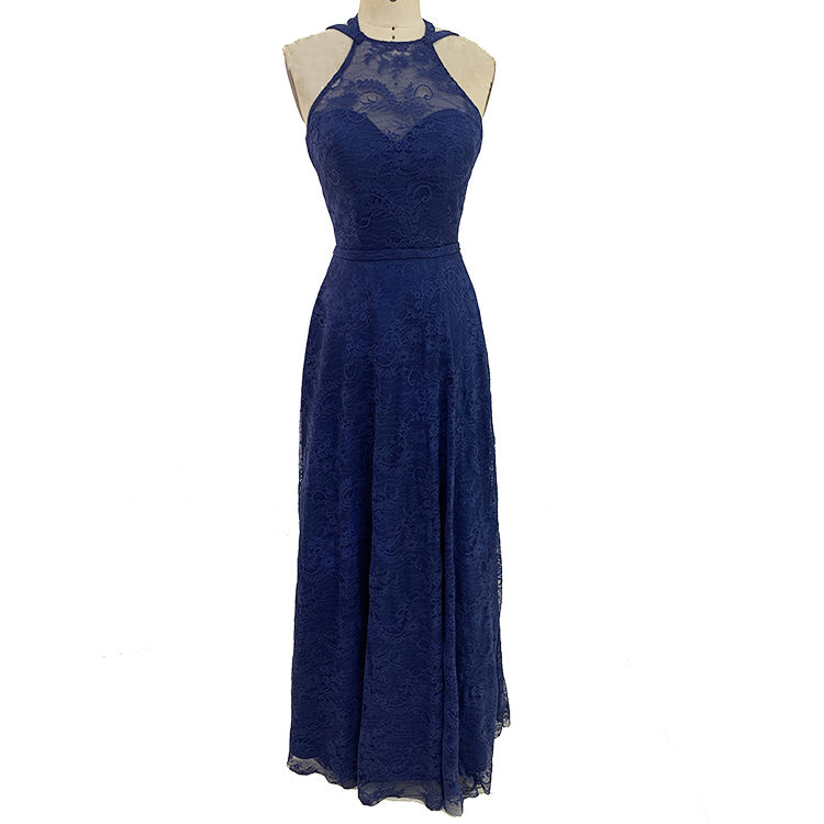 Bridesmaids Dresses Supplier Chaozhou Design Halter Neck Embroidery Lace Navy Blue Long Bridesmaid Dresses