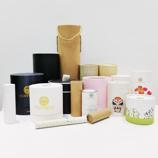 Custom eco friendly carton cylinder kraft paper round box empty biodegradable craft cardboard boxes packaging tubes