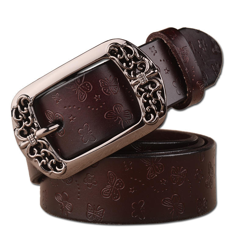 new Fashion Women's Cowhide Leather Belt With Alloy Buckle