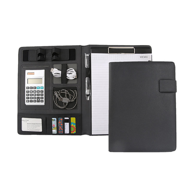 Best selling leather portfolio with removable clipboard a4 with calculator