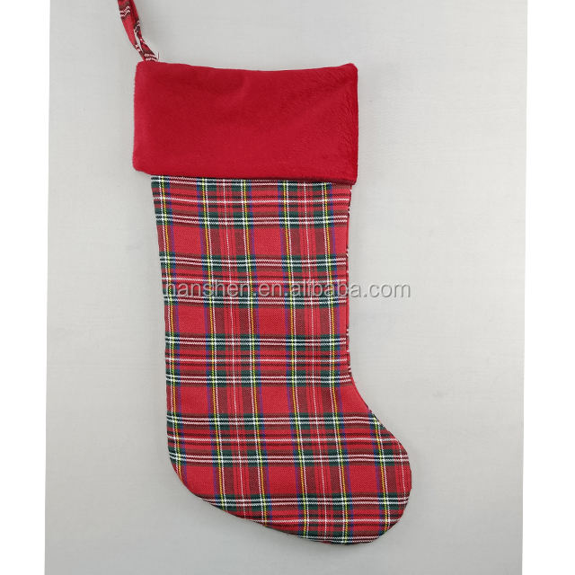 Gireshome Red Plaid with Sherpa Cuff Christmas Stocking,Xmas Tree Decor Festival Party Ornament