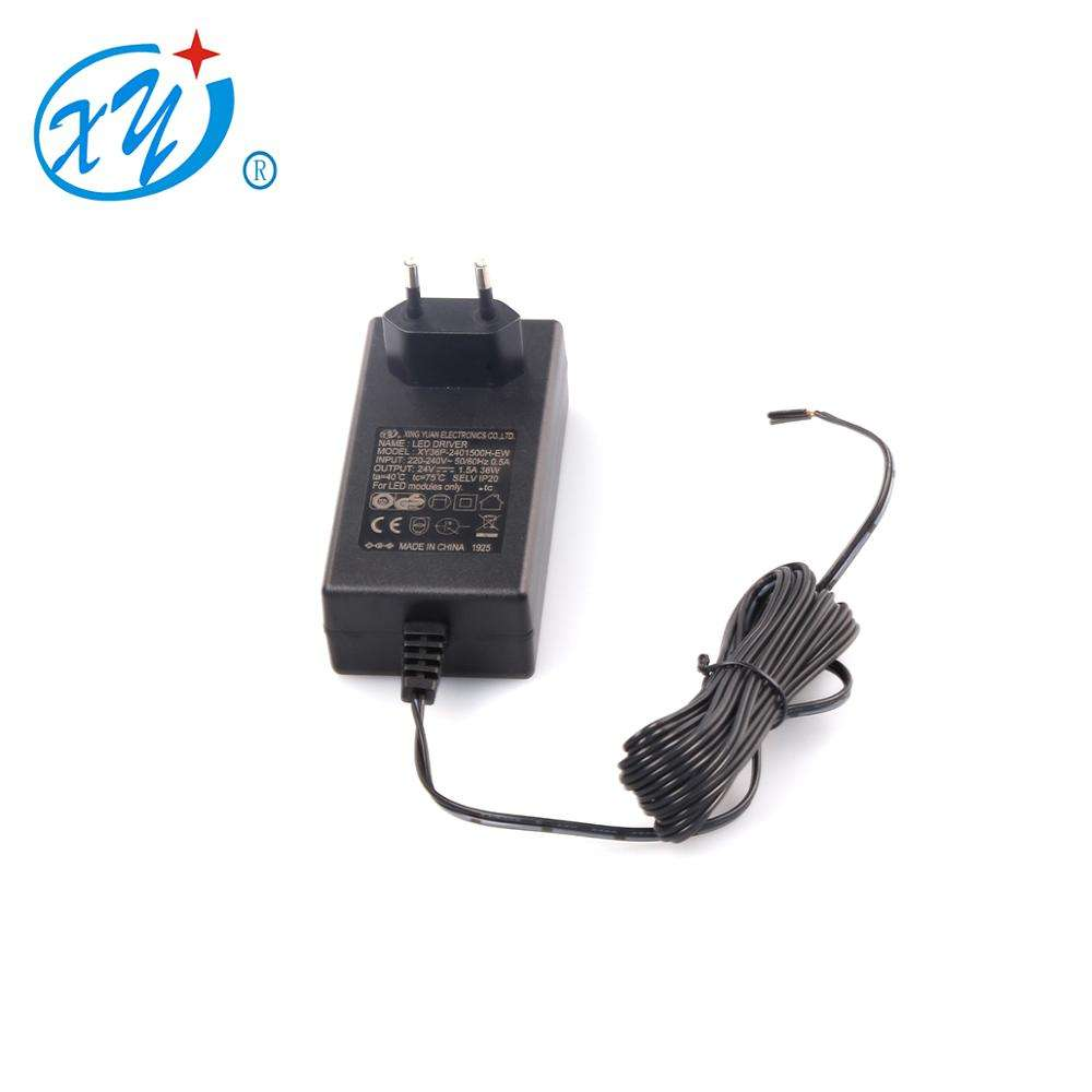 36W 24V1.5A AC DC Power Adapter TUV GS CE ROHS สำหรับเยอรมนี maket