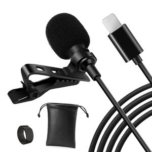 Professional Wired Hands Free Mini Lapel Clip Lavalier Microphone For Iphone Type C Plug Teaching Live Broadcast Loudspeaker