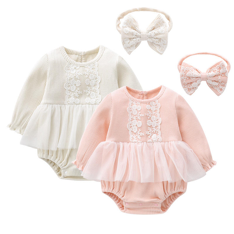 Free Lace Headband,2021 Spring New Arrival Infant Clothing 3-6 months baby girl clothes romper, long sleeve baby ribbed rompers