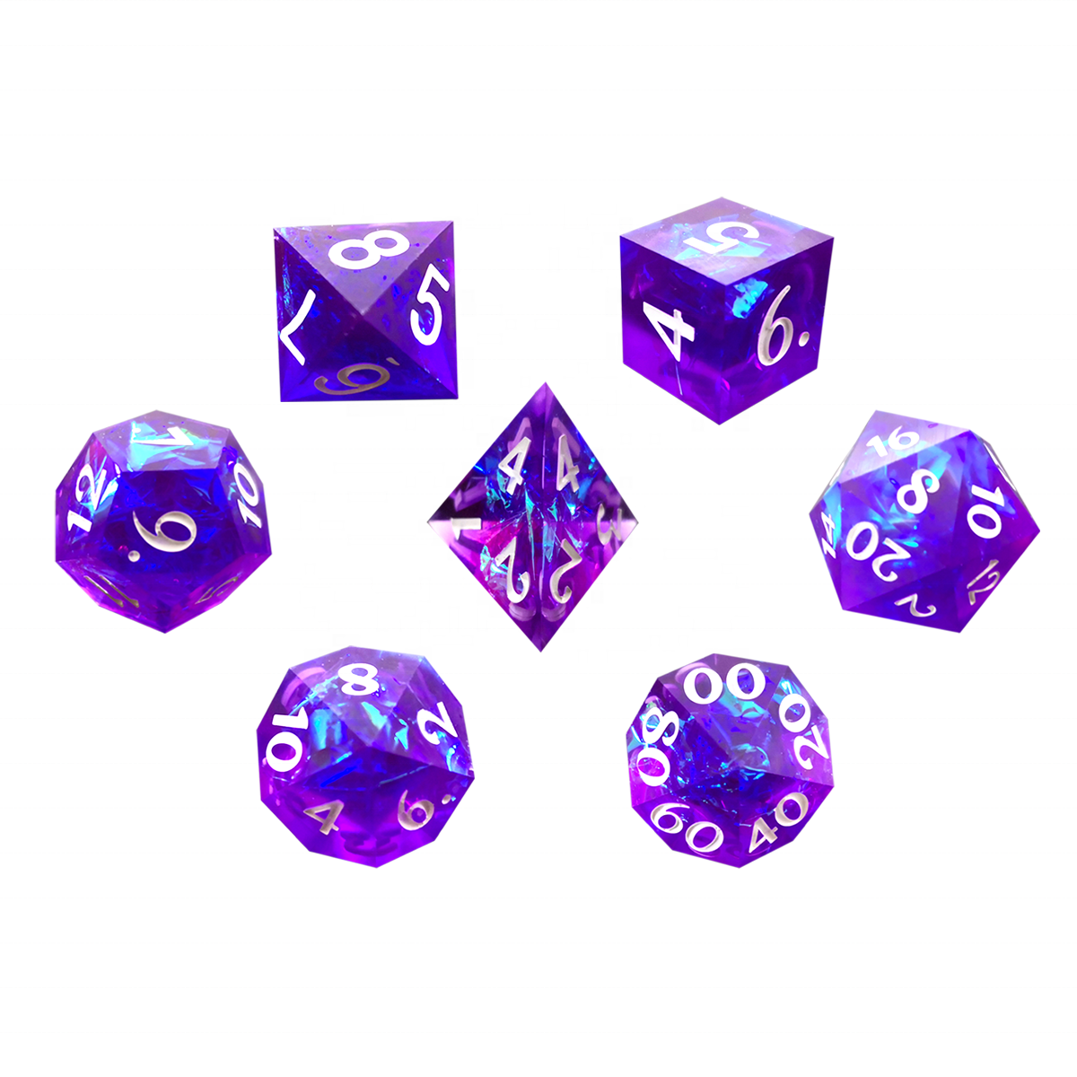 For Classical Blue Purple Polyhedral Sharp Resin Dice Set D4 D6 D8 D10 D12 D20 D% With For DND Board Game