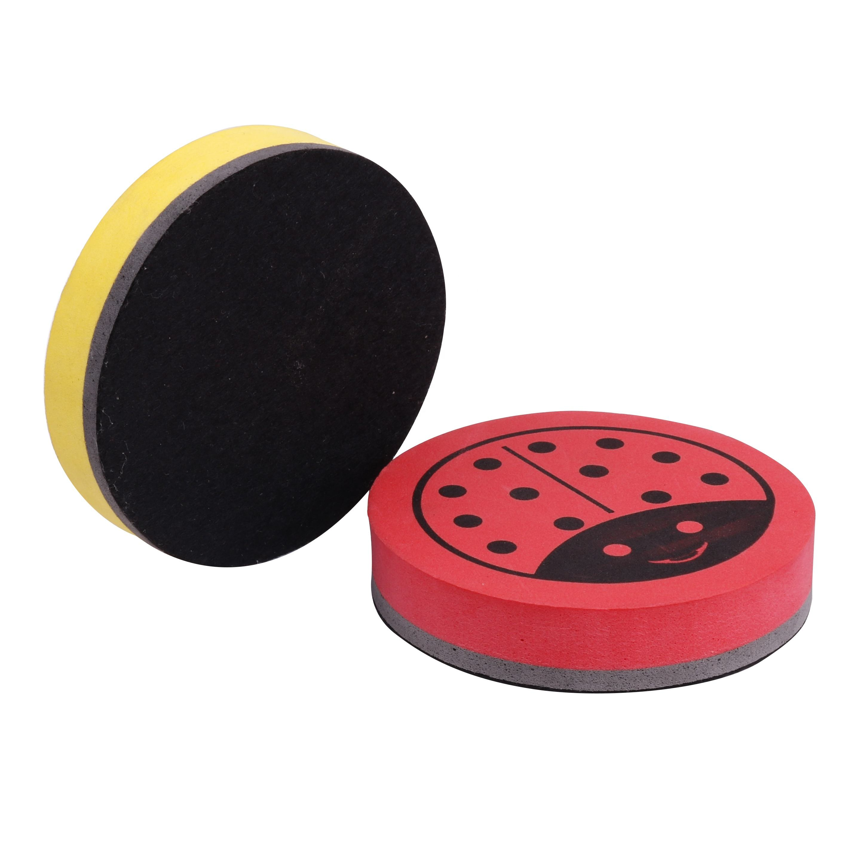 Cheap office stationery erasers. Round Shape Dry whiteboard eraser whiteboard dusters with magnet