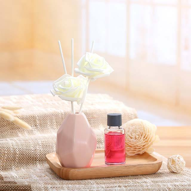 30ML Sola Flower Aromatherapy Aroma Rose Reed Oil Diffuser Sticks Set With Ceramic Bottle