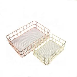 Cheap wire baskets and bins Gold wire mesh bins for storage decorating gift baskets MP-16