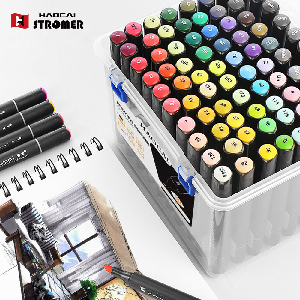 Hot selling high quality Artist Drawing Twin Tip Permanent Waterproof Alcohol Marker Pen